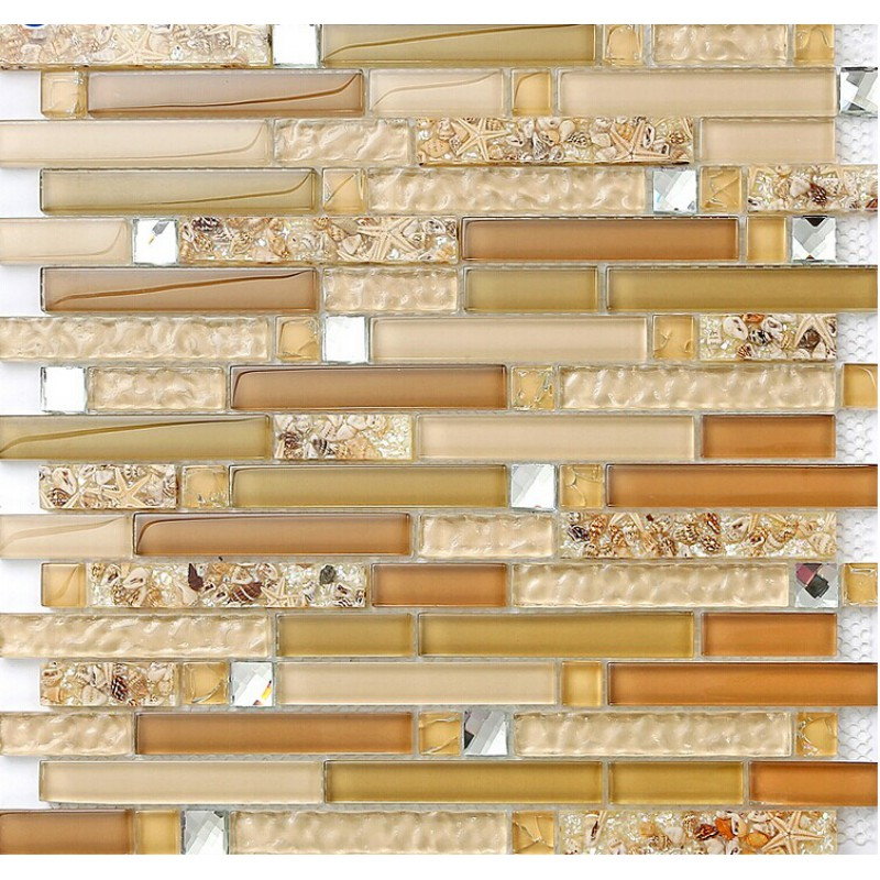 Glass mosaic kitchen tiles for backsplash ideas bathroom resin conch sheet  tile showers cheap glass
