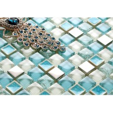 crackle glass mosaic tile backsplash cheap stainless steel crystal glass metal wall tiles SPS29 blue bathroom shower mosaic bedroom walls