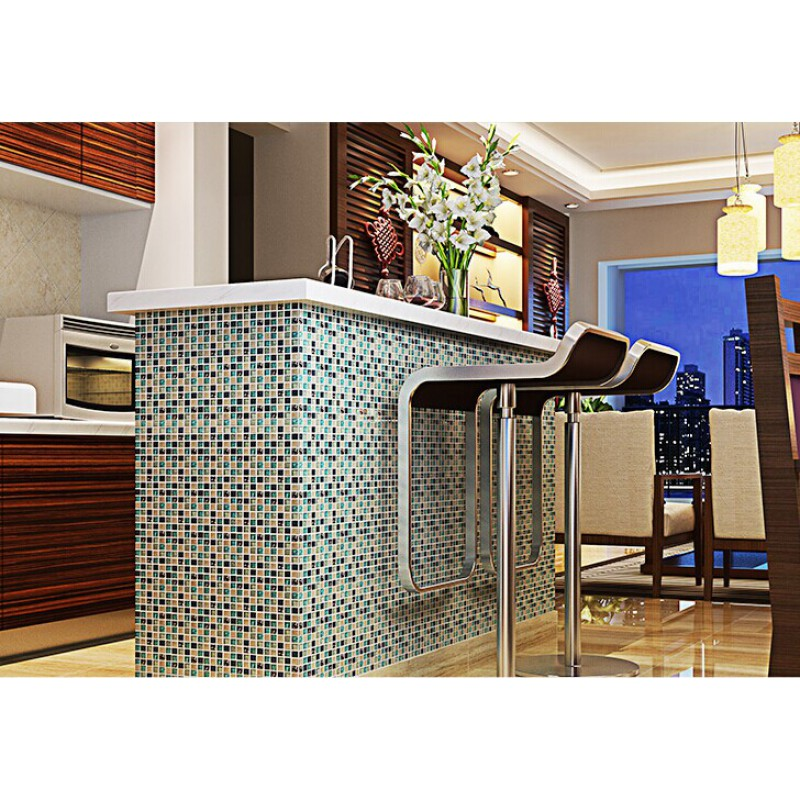 Blue ice crack glass tile mosaic sheets beige crackle glass ...