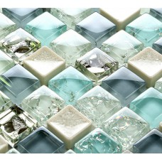 Blue ice crack glass tile mosaic sheets beige crackle glass porcelain backsplash cheap cracked tiles for kitchen and bathroom PGPS88