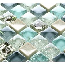 Blue ice crack glass tile mosaic sheets beige crackle glass porcelain backsplash cheap cracked tiles for kitchen and bathroom PGPS88