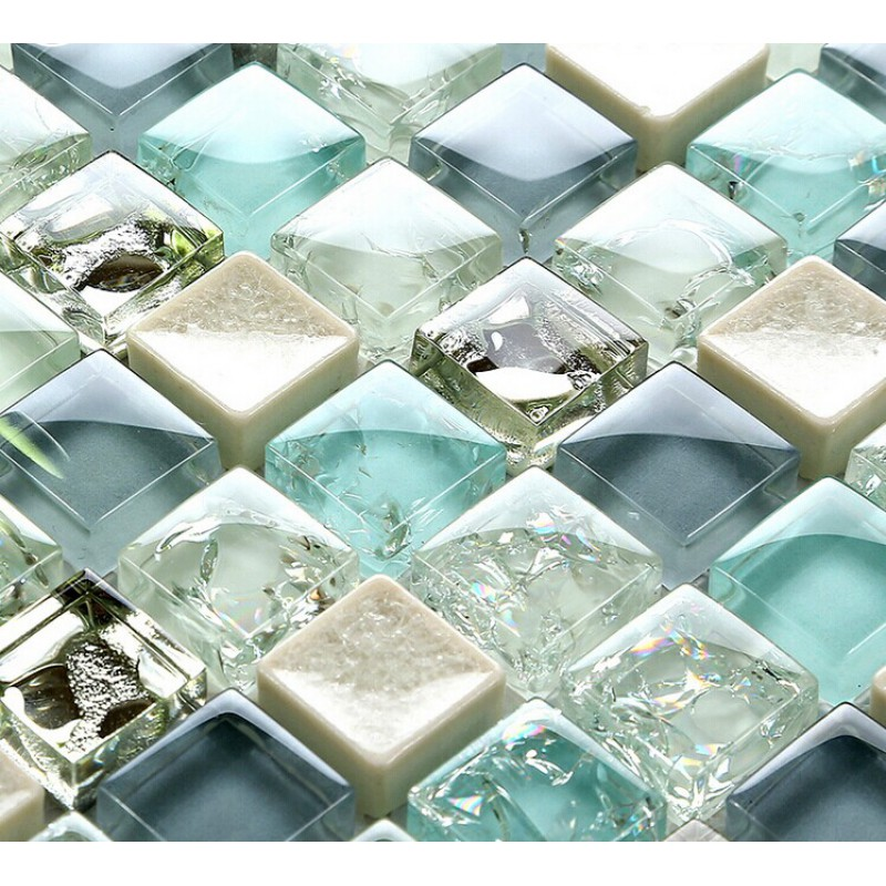 Glass Tiles In Bathroom: Blue Ice Crack Glass Tile Mosaic Sheets Beige Crackle