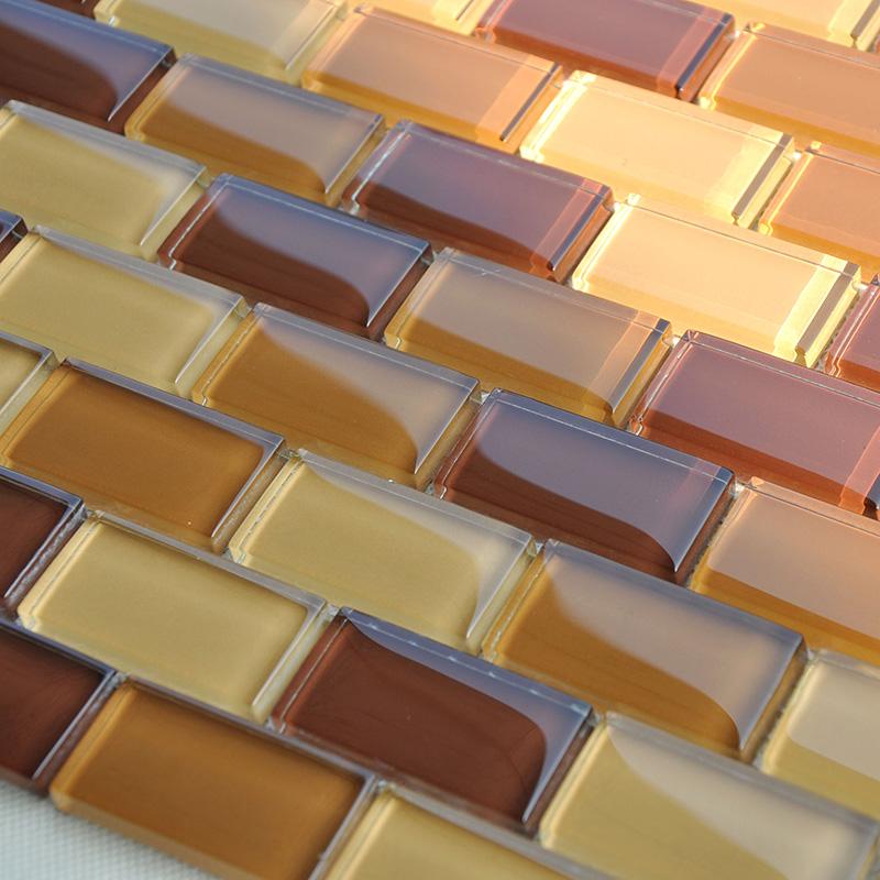Backsplash Tile Sheets: Glass Mosaic Tile Sheets Crystal Glass Tile Brick Kitchen