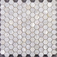 Hexagon mosaic mother of pearl tiles backsplash cheap bathroom shower tiles designs white seashell tile natural shell materials ST013