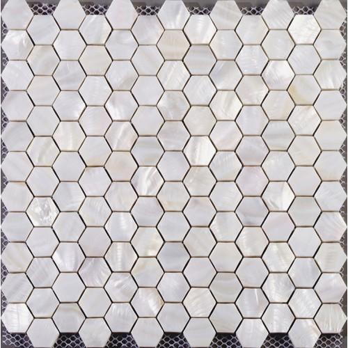 Hexagon mosaic mother of pearl tiles backsplash cheap bathroom shower tiles designs white seashell tile natural shell materials ST013