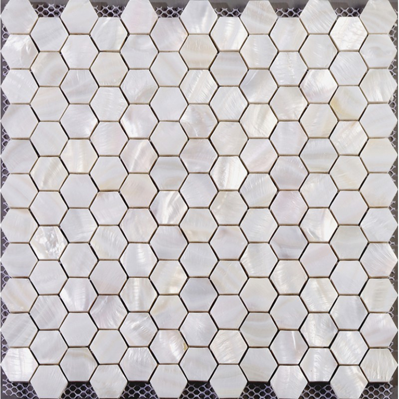 hexagon mosaic mother of pearl tiles backsplash cheap bathroom shower tiles designs white seashell tile natural