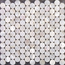 Seashell tiles mother of pearl tile backsplash for kitchen and bathroom penny round mosaic tile decoration wall white shell with base ST014