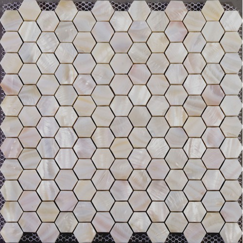 Hexagon mosaic mother of pearl tiles backsplash cheap bathroom shower tiles designs iridescent seashell tile natural shell materials ST019