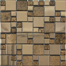 Crystal Glass Mosaic Tile Plated Metal Coating Tiles Kitchen Backsplash Tile Free-shipping Floor Sticker Design Bathroom Wall Tiles Glass Tile GJGJ004