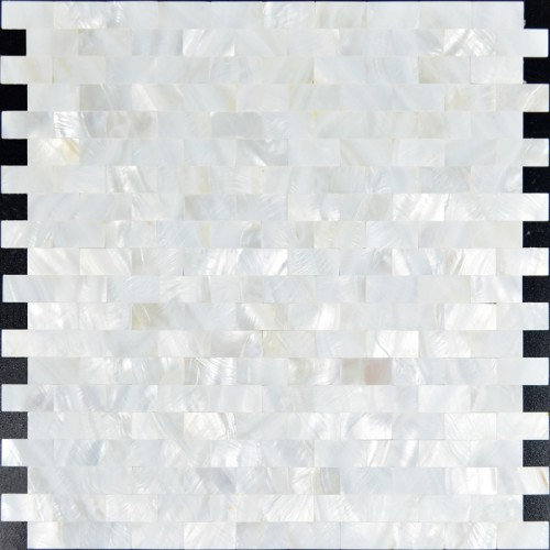 Mother of pearl subway tile backsplash for kitchen and bathroom seamless shower wall tiles design cheap white shell mosaic sheets ST061