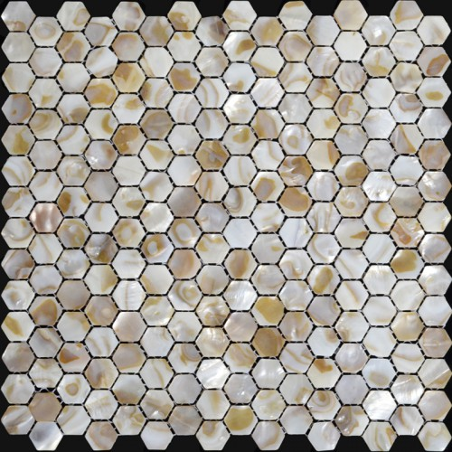 Natural Seashell Mosaic Iridescence Mother of Pearl Tile Backsplash Kitchen Design Hexagon Shell Tiles Bathroom ST064