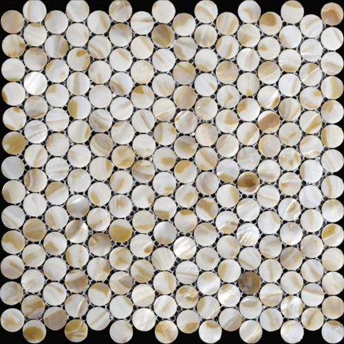 Natural seashell mosaic penny round  mother of pearl tile backsplash kitchen designs iridescence shell tile bathroom ST065
