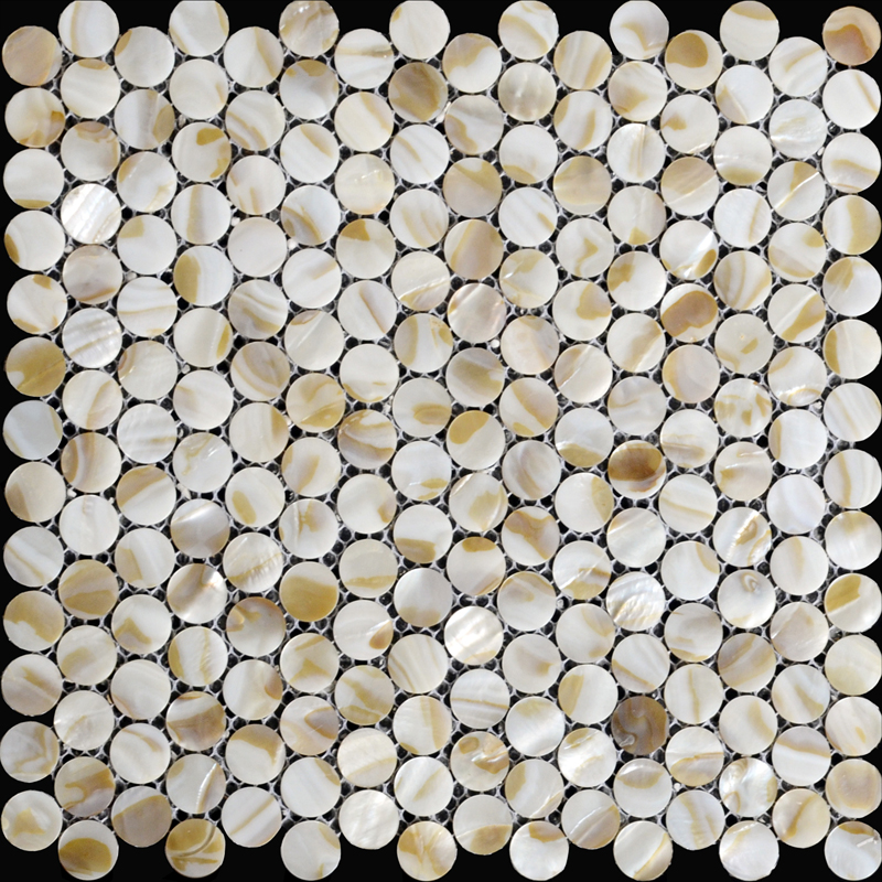 Natural Seashell Mosaic Penny Round Mother Of Pearl Tile