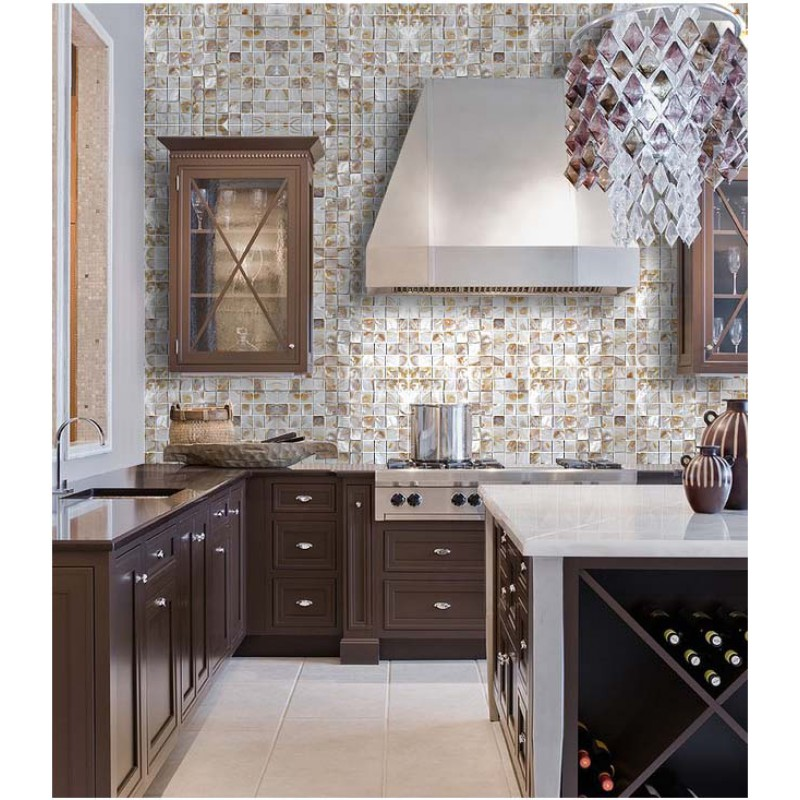 Natural Seashell Mosaic Iridescence Mother Of Pearl Tile Backsplash Classic Kitchen Designs Shell Tiles Mirror Wall
