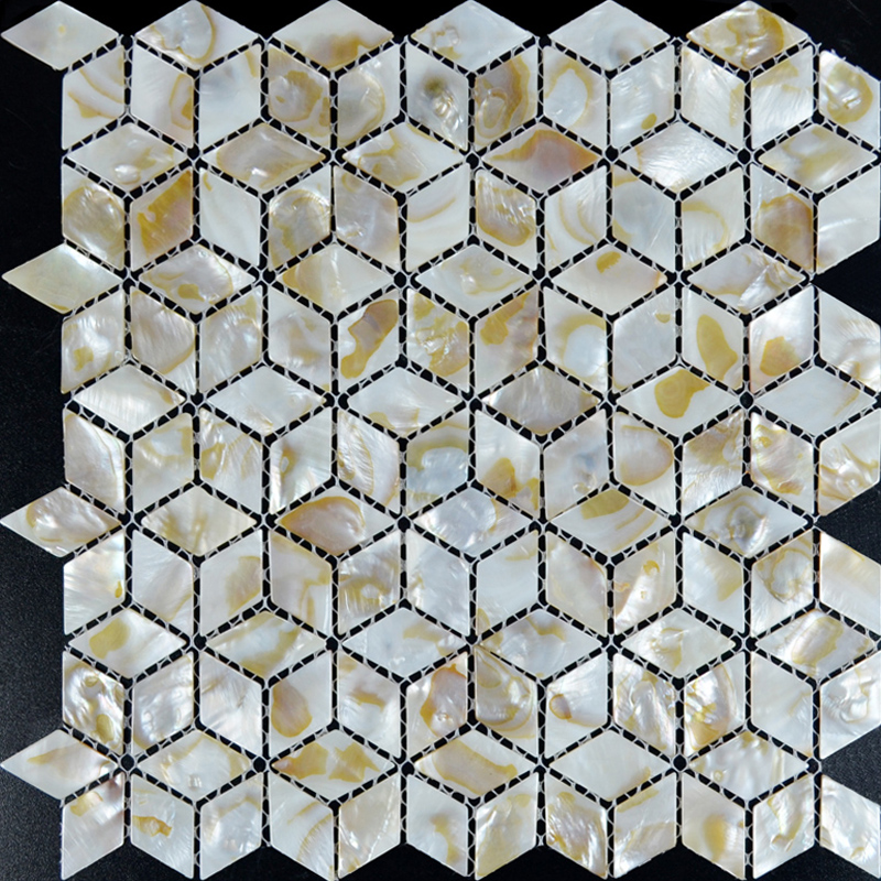 Model Of Mother of Pearl Shell Tile diamond sheets Iridescence Seashell Mosaic 3d designs Kitchen Backsplash Tiles Bathroom Minimalist - Contemporary backsplash tile shapes New Design