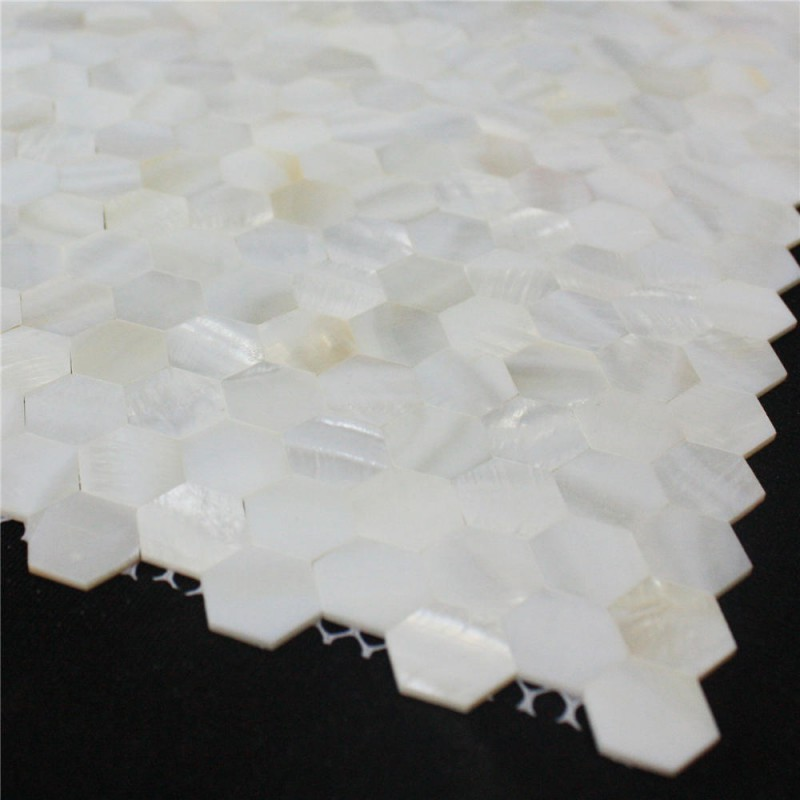 Mother of pearl tile seamless shell backsplash ideas 3 5 white hexagon mosaic wall decor - Wall decoration with pearls ...