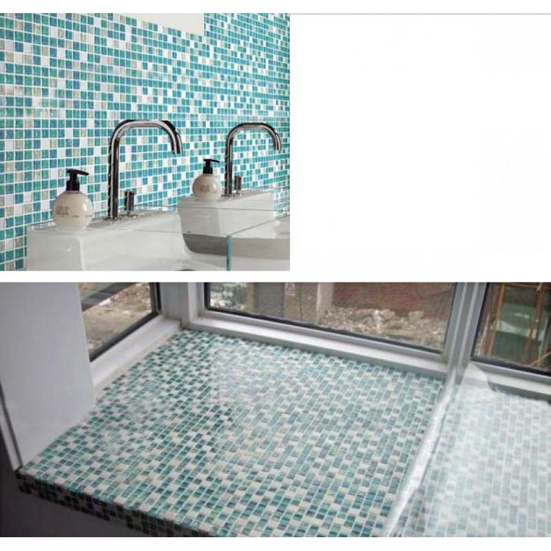 Mosaic Tile Bathroom Shower: Crystal Glass Mosaic Tile Sheet STBL001 Kitchen Backsplash