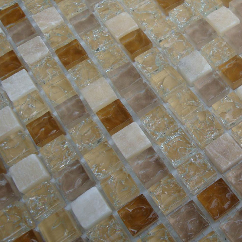 Mix Marble Mosaic White And Brown Kitchen Backsplash
