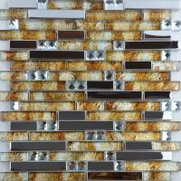 Stainless steel backsplash ideas glass diamond and metal blend mosaic interlocking designs bathroom wall tiles MGT005
