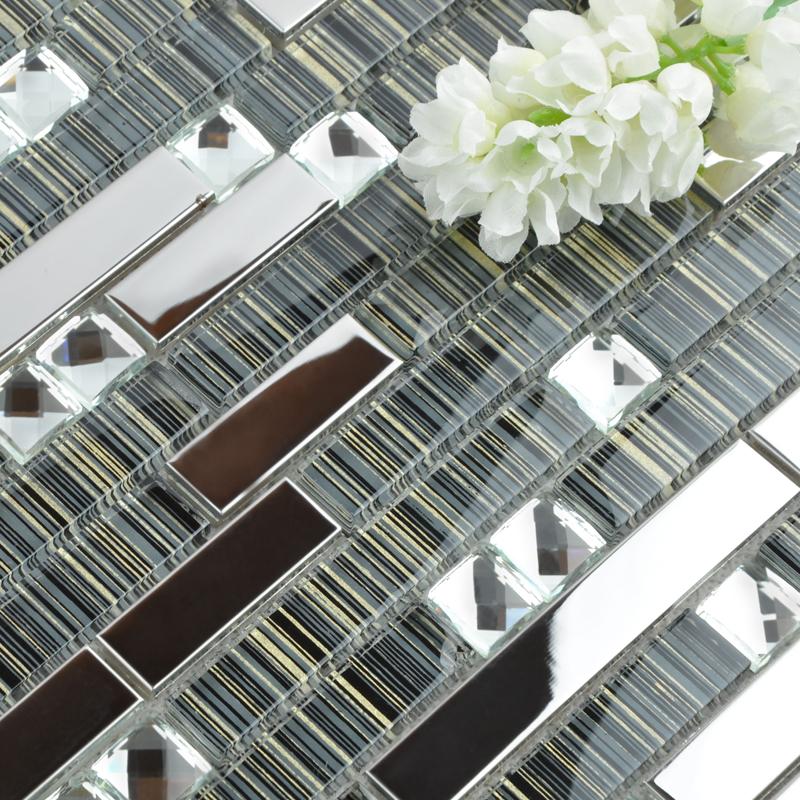 Interlocking Mosaic Tile Backsplash Hand Painted Wall Designs Diamond Crystal Glass Stainless Steel Tiles Floor Sticker T006