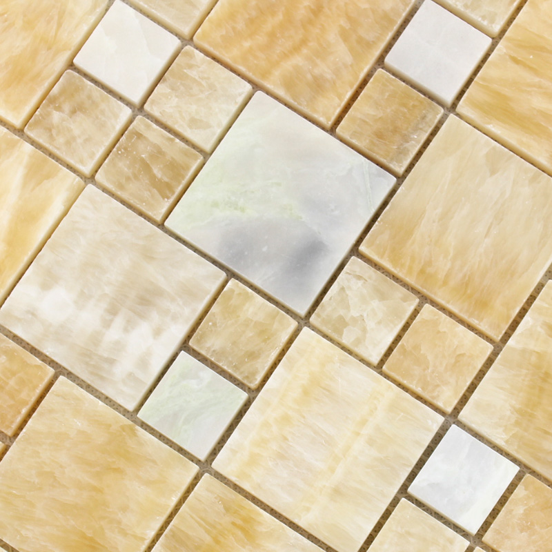 Stone Mosaic Wall Tiles Backsplash Yellow Mosaic Brick Designs For