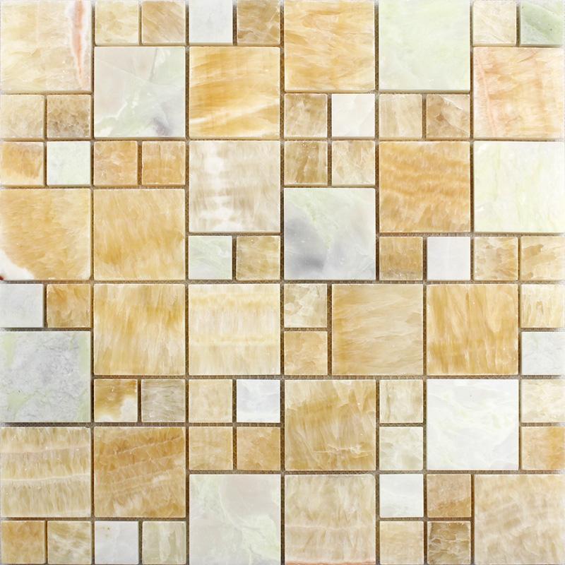 Yellow Tiles For Kitchen: Stone Mosaic Wall Tiles Backsplash Yellow Mosaic Brick