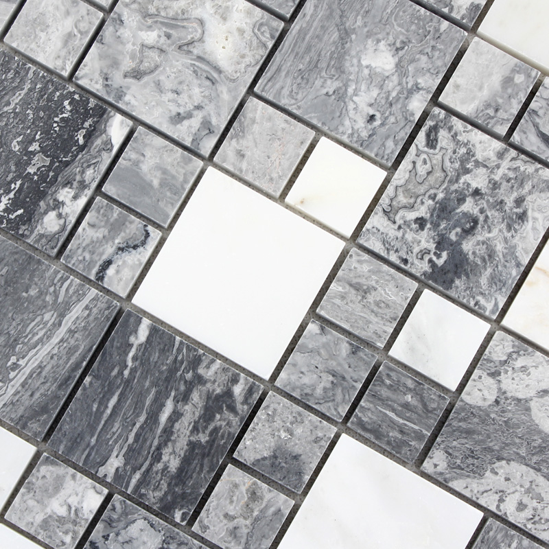 Natural MarbleTiles Sheet Diamond Stone Mosaic Tile Art Wall Stickers  Kitchen Backsplash Design Bathroom Shower Floor Tiles
