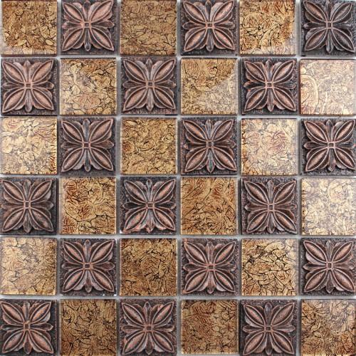 Glass mosaic tile sheets embossed patterns resin T1265 brick tile backsplash kitchen Crystal glass tiles Bathroom wall sticker