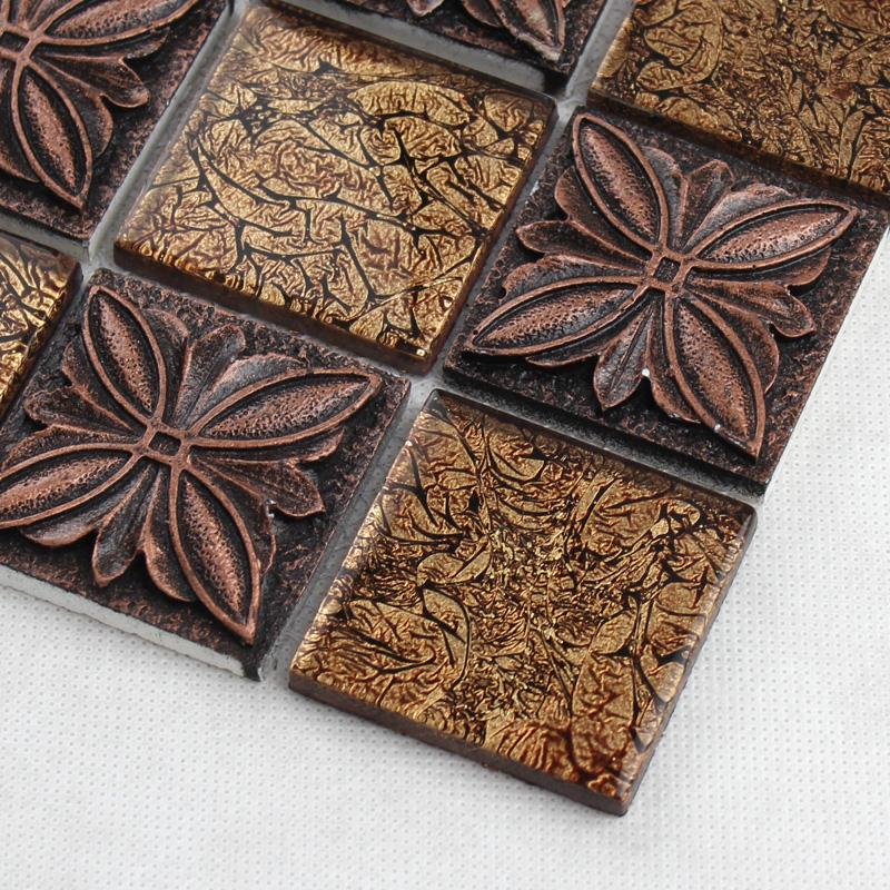 Glass Mosaic Tile Sheets Embossed Patterns Resin T1265 Brick Tile  Backsplash Kitchen Crystal Glass Tiles Bathroom ...