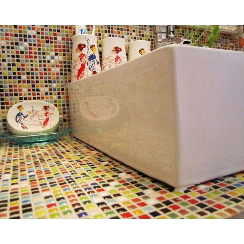 Multi Color Porcelain Tile Kitchen Floor Small Chips Glazed Ceramic