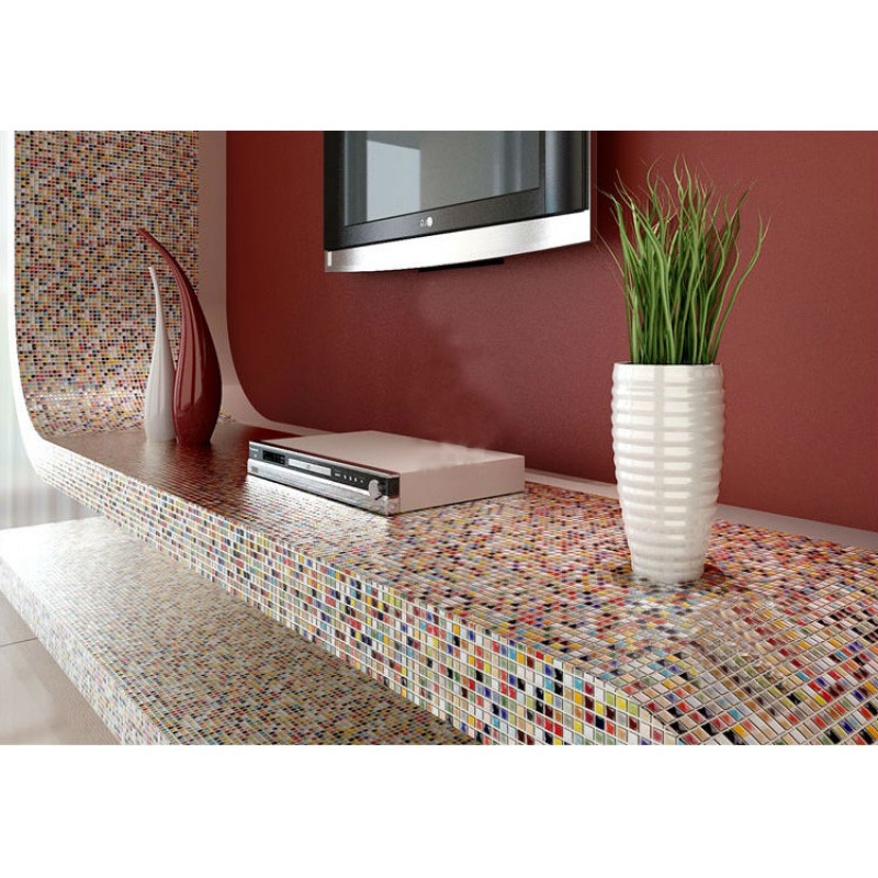 ... Multi Color Porcelain Tile Kitchen Floor Small Chips Glazed Ceramic  Mosaic PMT401 Iridescent Bathroom Wall
