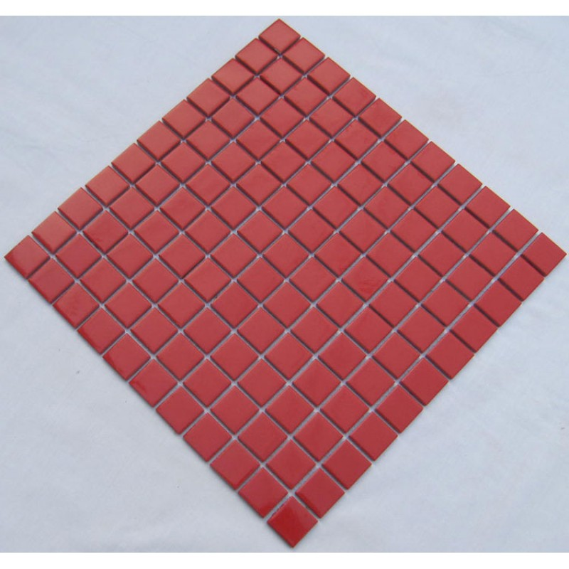 Porcelain Ceramic Wall Tile Red Swimming Pool Mosaic Cover 1 Sq Ft