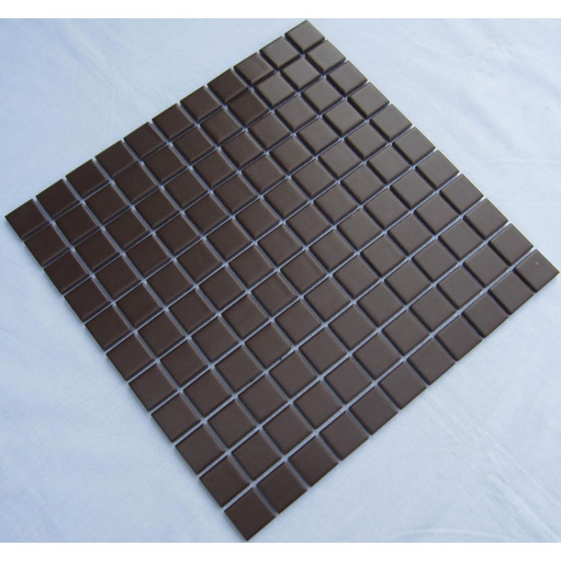 Porcelain Ceramic Mosaic Tile Brown Wall Tiles Cover 1 Sq Ft For Each Sheet