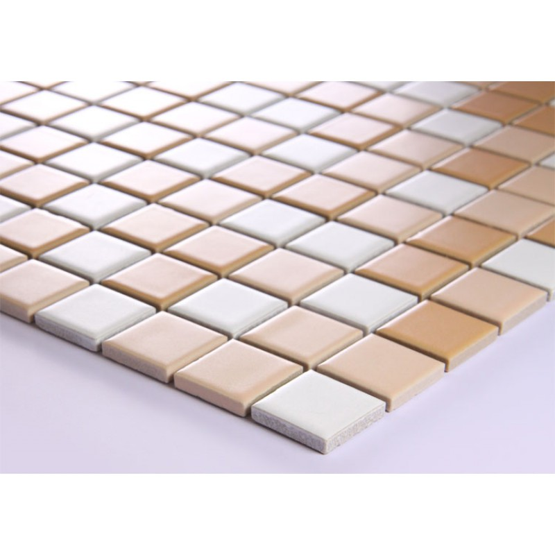 Beige and white porcelain mosaic glazed tile swimming pool for Swimming pool wall tiles