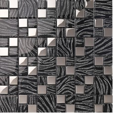 silver with black crystal glass mosaic tiles silver plated glass tiles kitchen wall design tile backsplashes decor KQYT044