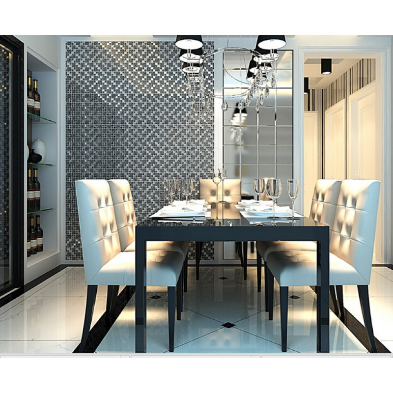 Silver With Black Crystal Glass Mosaic Tiles Silver Plated