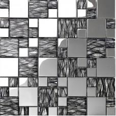 black art hand painted design glass mosaic tile silver metal coating glass tile washroom kitchen room wall tiles decor KQYT124