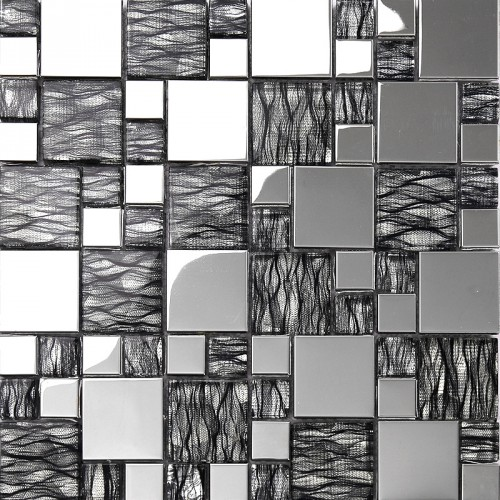 black art hand painted design glass mosaic tile silver metal coating glass tile washroom kitchen room wall tiles decor KQYT124
