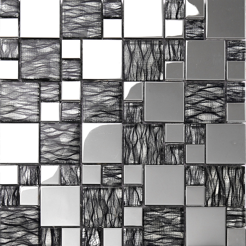 Black Mosaic Tiles Kitchen: Black Art Hand Painted Design Glass Mosaic Tile Silver
