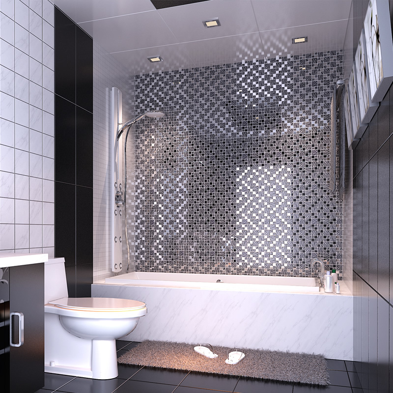 Hand Painted Kitchen Tiles: Black Art Hand Painted Design Glass Mosaic Tile Silver