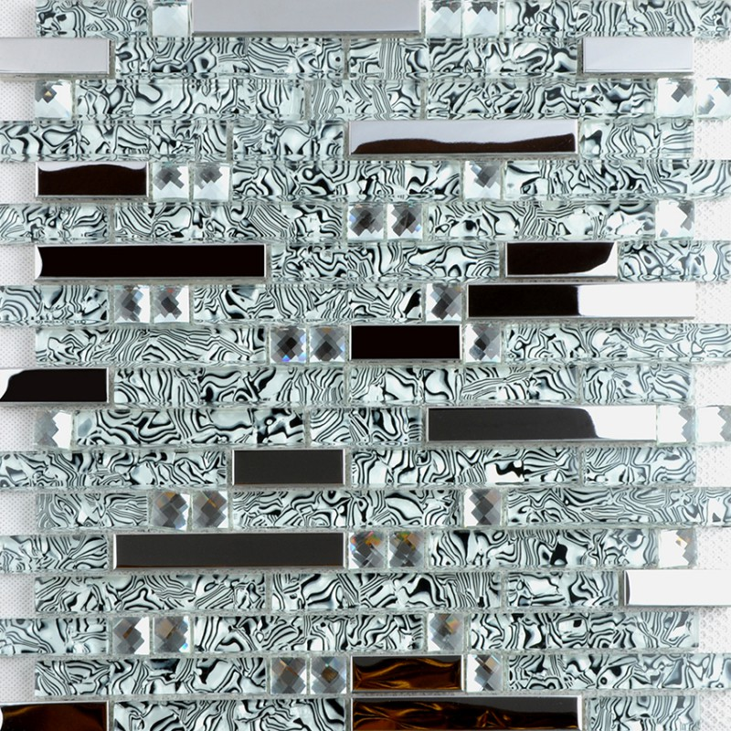 Crystal Gl And Metal Backsplash Tiles For Kitchen Bathroom Silver Stainless Steel Tile Bath Mosaic