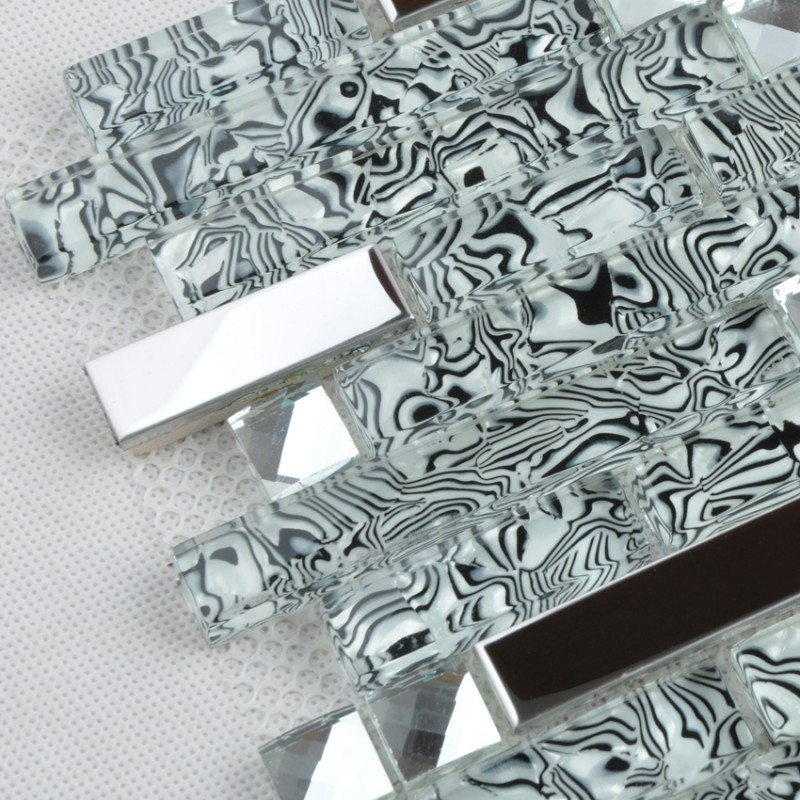 Crystal Glass And Metal Backsplash Tiles For Kitchen And Bathroom Silver Stainless Steel Tile Bath Mosaic