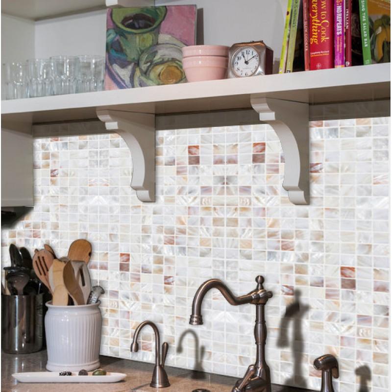 Mother Of Pearl Wall Tile Backsplash Kitchen Design Natural Shell Tiles Mosaic Art Seashell Wb 023