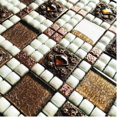 Porcelain tile kitchen backsplash tiles diamond bathroom mirror tile crystal glass mosaic WY-JH166 1 inch ceramic tiles floor