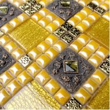 stainless steel crystal wall patterns glass diamond yellow metal glass mosaic sheet WY-JH169 kitchen backsplash cheap bathroom 3d floor tiles