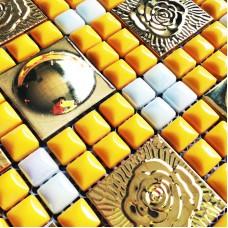Gold metal wall tiles kitchen backsplash stainless steel tile flower patterns glazed porcelain pebble mosaic shower tiles designs SPH172