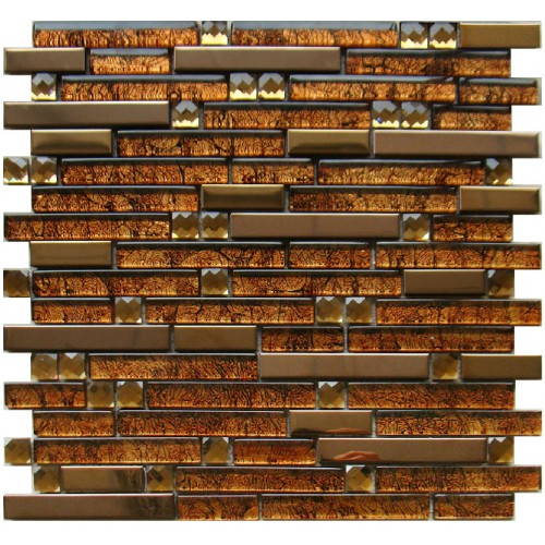 golden metal wall tiles kitchen backsplash stainless steel and glass