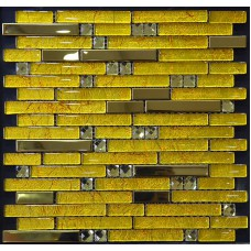 stainless steel backsplash gold glass mosaic diamond tile kitchen back splash interlocking YB2067 bathroom shower designs metal crystal glass tiles