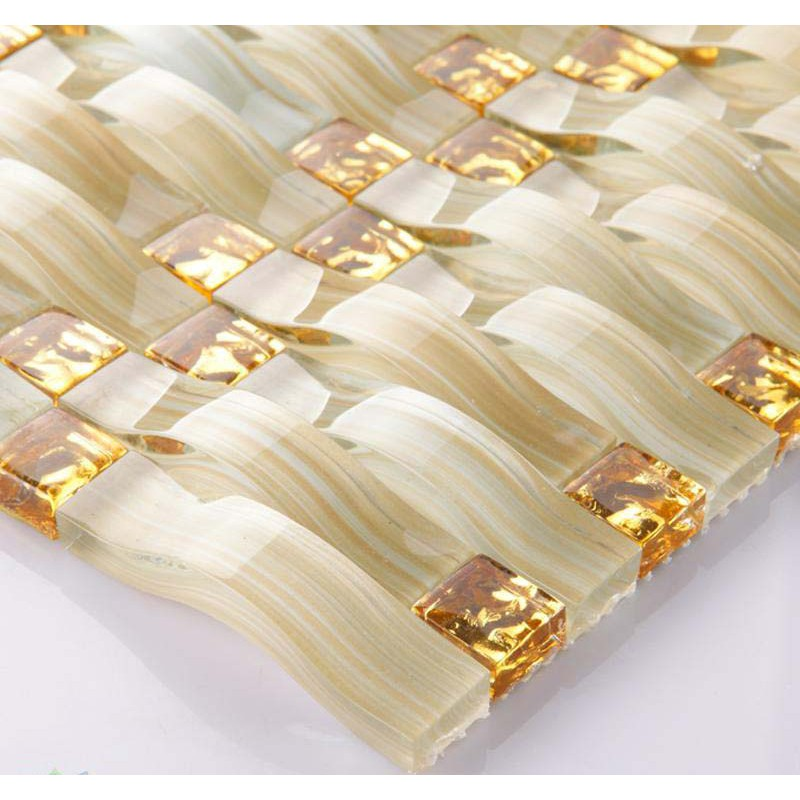 Hand Painted Crystal Glass Tile Sheets Gold Mosaic Bathroom Arch