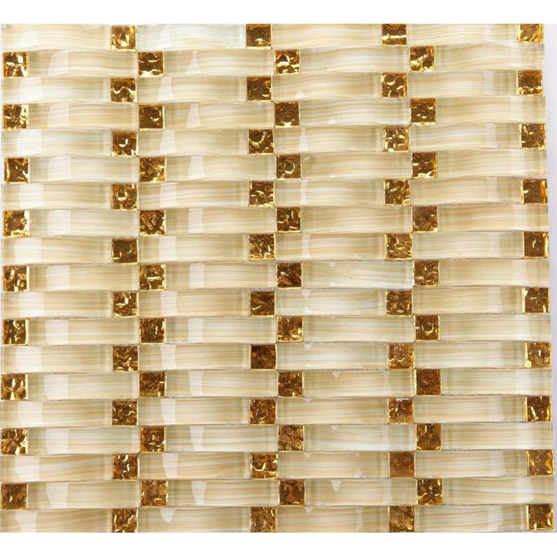 Hand Painted Crystal Glass Tile Sheets Gold Mosaic